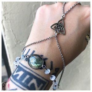 Moonstone & labradorite celtic knot hand bracelet